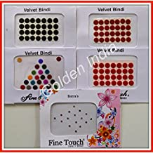 Assorted Multi-color Velvet Dot Bindi Tattoo 120 Stickers Adhesive Body Jewelry By Golden India P53