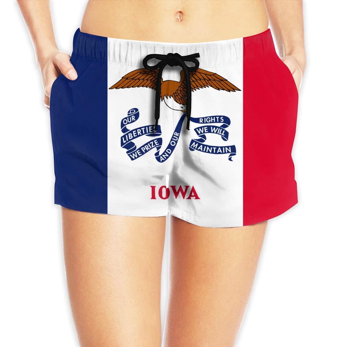 ZKHTO Iowa Flag Women Summer Beach Shorts Beach Board Shorts
