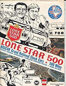 Texas World Speedway Auto Race Program 6/1972-NASCAR Grand National-VF