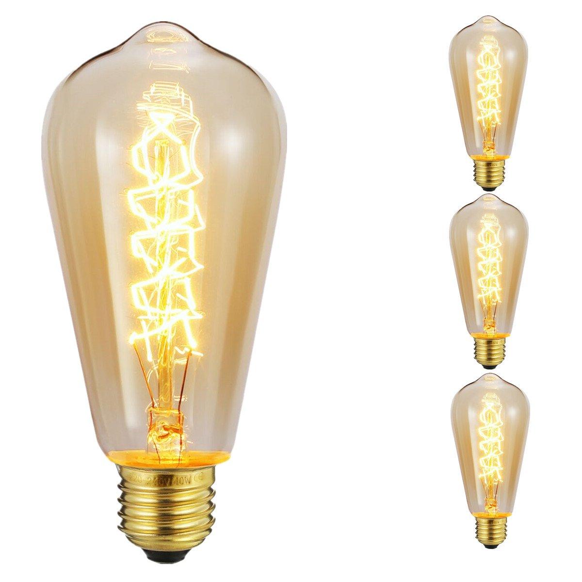 KINGSO 3 Pack E27 220V 40W ST64 Ampoules à incandescence Rétro Edison Ampoule Antique Lampe