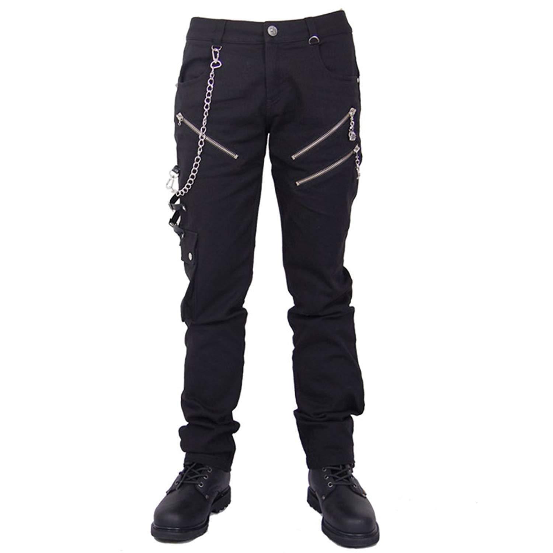 Devil Fashion Steampunk Men Cotton Casual Pants Punk Rock Black Skull Shorts DF