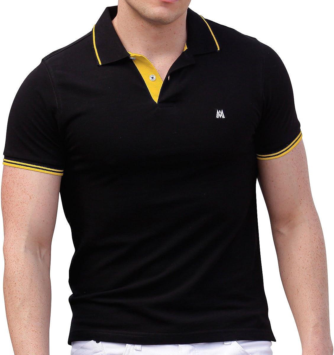 AsdruMark Men's Polo Shirt, Black-Yellow at Amazon Men's Clothing ...