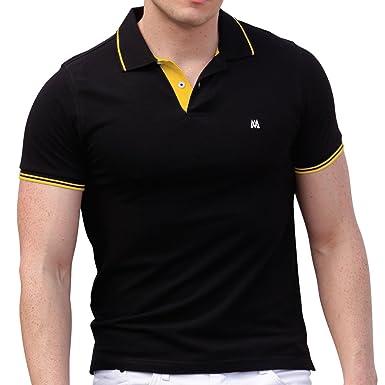 AsdruMark Camiseta Polo Shirt para Hombres, Negro-Amarillo: Amazon ...