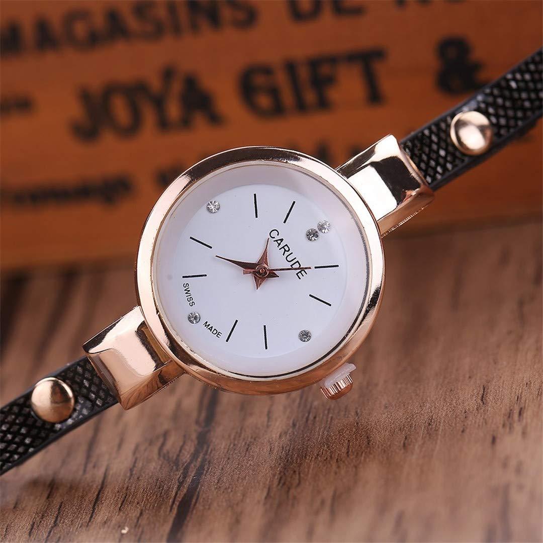 Amazon.com: Women Watch Clock Bracelet Leather Ladies Watch With Rhinestones Analog Dress Wrist Watches Gift Orange: Beauty