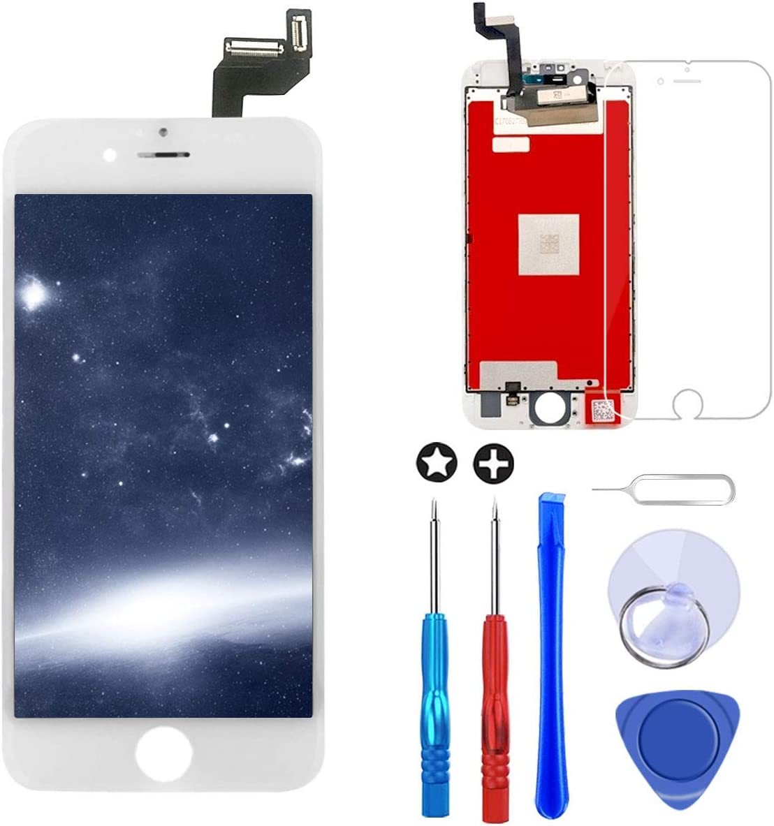 Brinonac Screen Replacement for iPhone 6s Plus 5.5 inch LCD Digitizer Touch Screen LCD Replacement Screen Frame Assembly Full Set with Tools and Screen Protector (White)