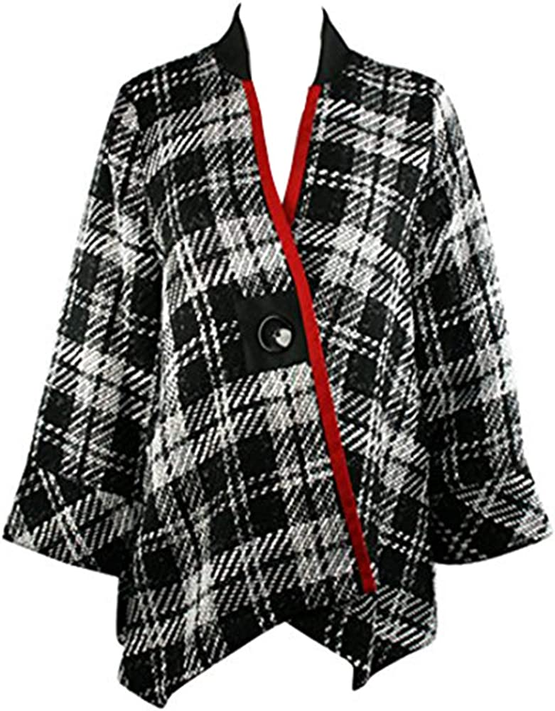 Moonlight Black /& White Plaid Asian Style Jacket with Red Stripe Accent