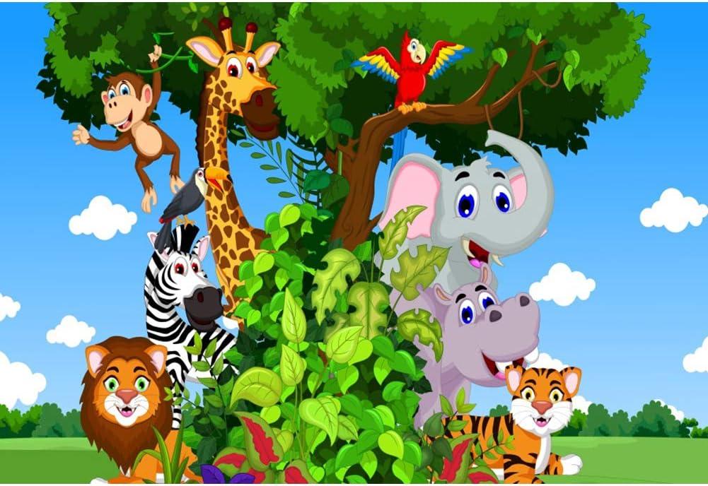 YongFoto 2,2x1,5m Fotograf/ía Fondo Dibujos Animados Safari Selva Animales Elefante Le/ón Jirafa Cumplea/ños Baby Shower Antecedentes Partido Decoraci/ón Retrato Foto Accesorios