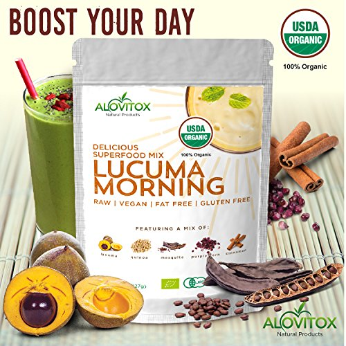 Lucuma Quinoa Mesquite Cinnamon Powder- Delicious Superfoods Mix Powder & Naturally Sweet -Certified Organic by Alovitox - 8oz - Pure Highest Quality Raw Gluten Free Vegan Non GMO by ALOVITOX (Image #1)'