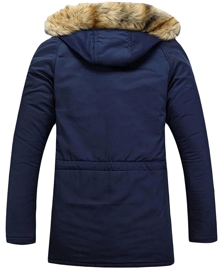 Honey GD Mens Casual Hooded Thickened Warm Mid-long Outdoor Coat