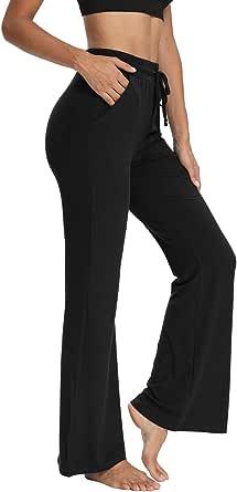 THANTH Womens Bootcut Yoga Sweatpants Loose Comfy Lounge Pants Drawstring Workout Bootleg Pants with Pockets
