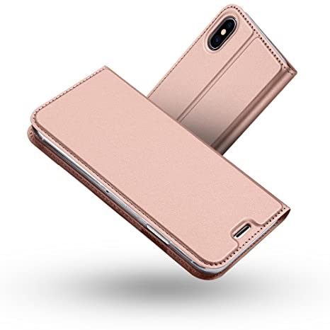 Radoo Funda iPhone X,Funda iPhone XS, Slim Case de Estilo Billetera Carcasa Libro de Cuero,PU Leather con TPU Silicona Case Interna Suave [Cierre ...