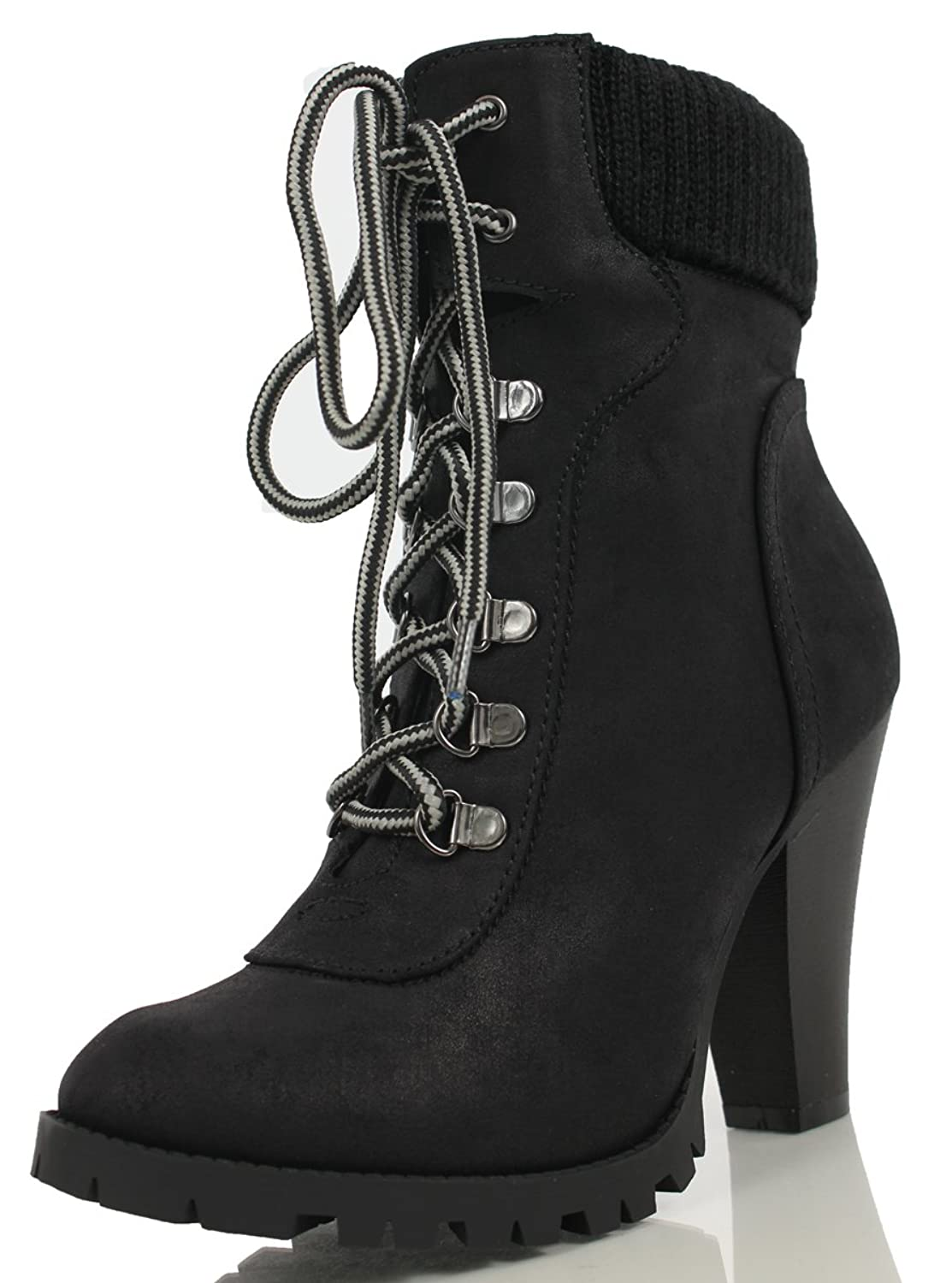 Women's Rouge Faux Suede Lace Up Combat Chic Work Boot High Heel Ankle Bootie