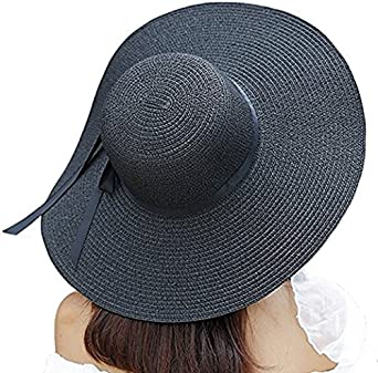 love planet Sonnenh/üte f/ür Frauen Gro/ße breite Krempe Bowknot Stroh Strandhut UPF UV Floppy Faltbare Packable Cap