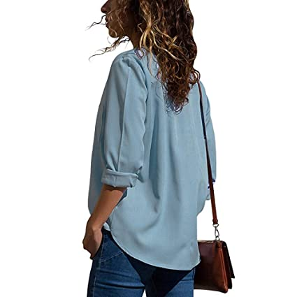 DEELIN Blusa De Bordado Informal Simple para Mujer En Color Liso Manga Larga De Cuello En Ola con Bloque Flojo En Color Negro/Azul Marino/Gris: Amazon.es: ...