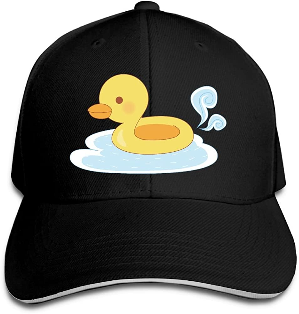 Teesofun Unisex Sandwich Peaked Cap Cute Yellow Duck Swimming Adjustable Cotton Baseball Caps
