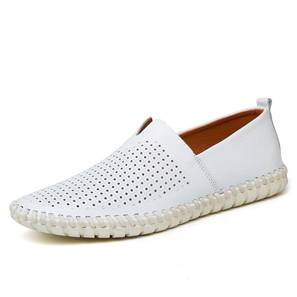 YING LAN Men's Moccasins Genuine Leather Flat Loafers Slip On Walking Driving Summer Beach Boat Shoes White B