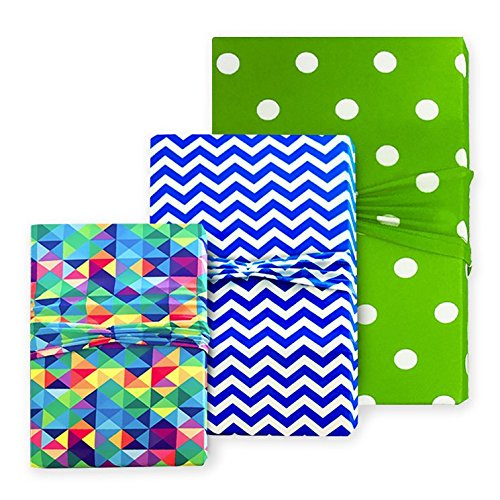 Birthday Gift Wrap - Lime Green, Royal Blue and Multicolor Wrapping for Parties, Anniversaries and Special Occasions - Stretchy Fabric, Reusable & Eco Friendly- Set of 3 (1 Sm/ 1 Med/ 1 Lg)