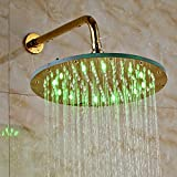 """Rozin Gold Polished LED Light 12"""" Rainfall Shower Head with Wall Mounted Shower Arm"""