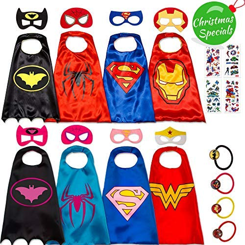 Dropplex Superhero Capes for Kids - Super Hero Toys & Costumes Birthday Party Supplies (8 Pack Mix) -