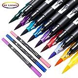 AbdTech Dual Tips Brush Pens Art Markers Set 60 Unique Colors Brush&Fine Liner