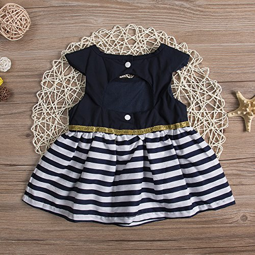 Infant Baby Toddler Girls Dress Stripe Stitching Sundress Navy Dress Outfit