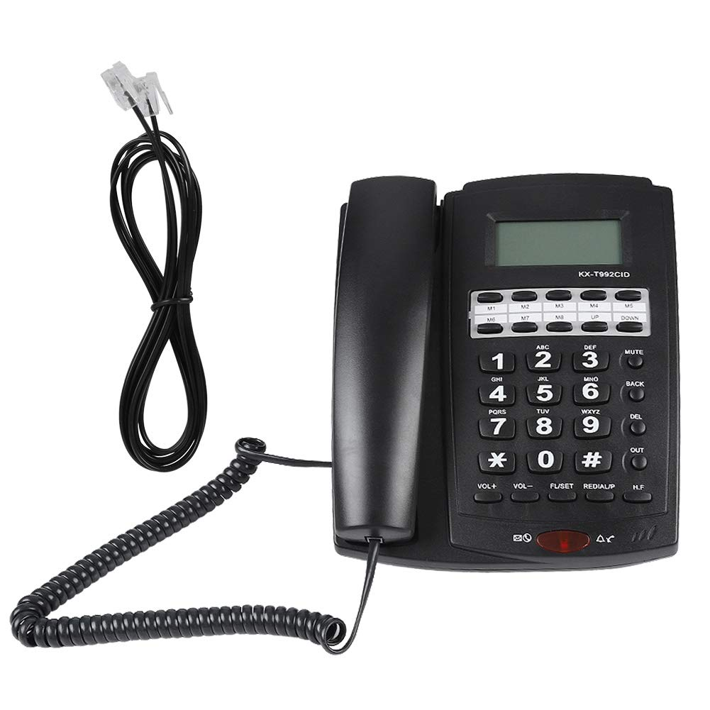 Zerone Téléphone Filaire avec répondeur téléphonique Filaire Mural pour Bureaux à Domicile(Noir)