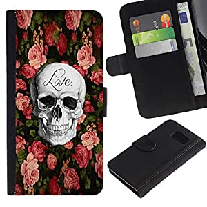 All Phone Most Case / Oferta Especial Cáscara Funda de cuero Monedero Cubierta de proteccion Caso / Wallet Case for Sony Xperia Z3 Compact // Love Rock Metal Rose Halloween