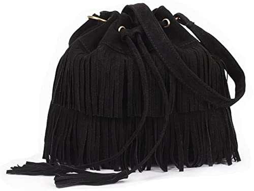 Stylish Fashionable Womens Cross Body Shoulder Bag Faux Suede Fringe Tassels by Ma Dd