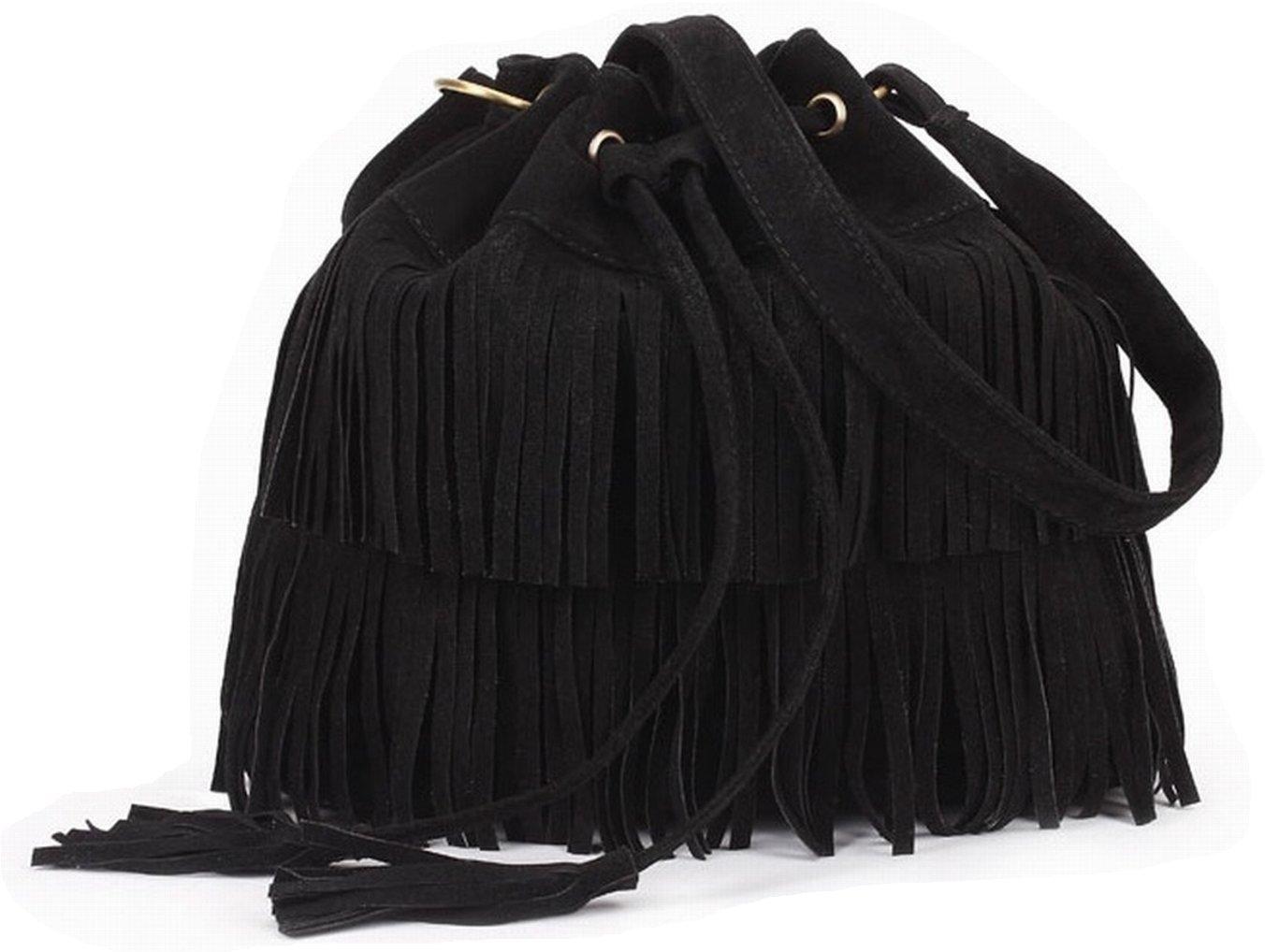 MaDD Stylish Fashionable Womens Cross-body Shoulder Bag Faux Suede Fringe Tassels (Black)