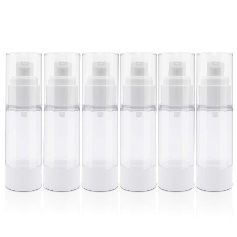 TrendBox 30ml / 1oz Airless Vaccum Pump Travel Bottles for Lotions, Cream - 6 Pack