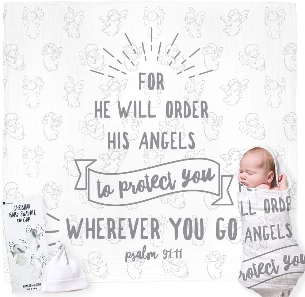 Christian Baby Swaddle Bible Quote Blanket and Cap Gift Set. Integrated Card, with Welcoming Prayer. For Christening, Baptism, Shower, Sentimental Receiving Blanket, Boy / Girl. Gift Card Not Required