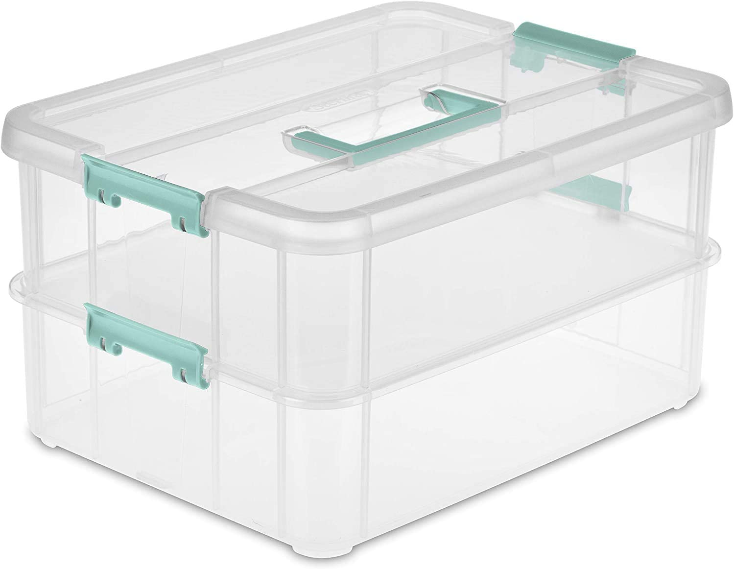 Tribello Stack & Carry 2 Layer Handle Box, Clear Plastic Stackable Case with Lid and Blue Handle - for Organization, Size 14 x 10 x 7- Made in USA