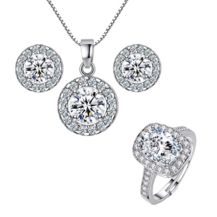 9a1a131797 Nurbo New Hot Fashion Women's Shiny Rhinestone Pendent 925 Silver Plated  Crystal Wedding Necklace Earrings Jewelry Set