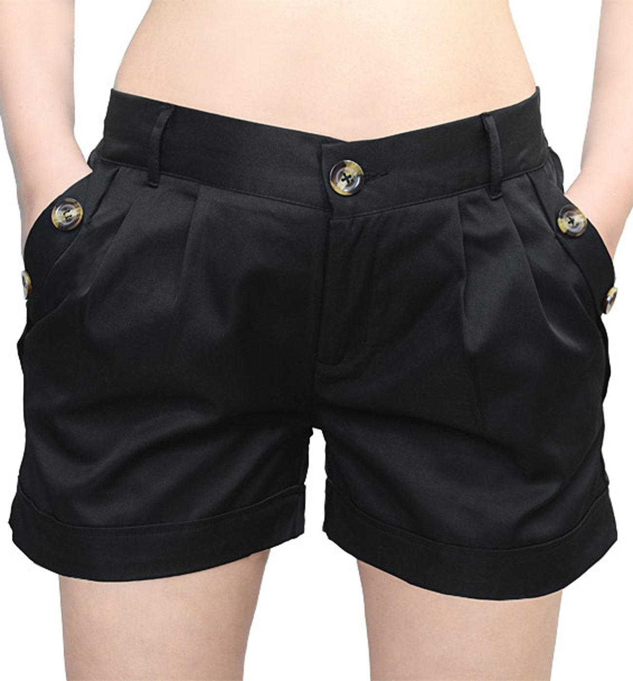 JOKHOO Women Summer Elastic Waist Twill Cargo Pocket Shorts Plus Size by JOKHOO