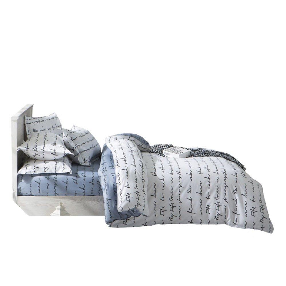 YOUSA Love Letter Bed Set Girls Bedding Set Boys Bedroom Set Full,4Pcs,White-Gray