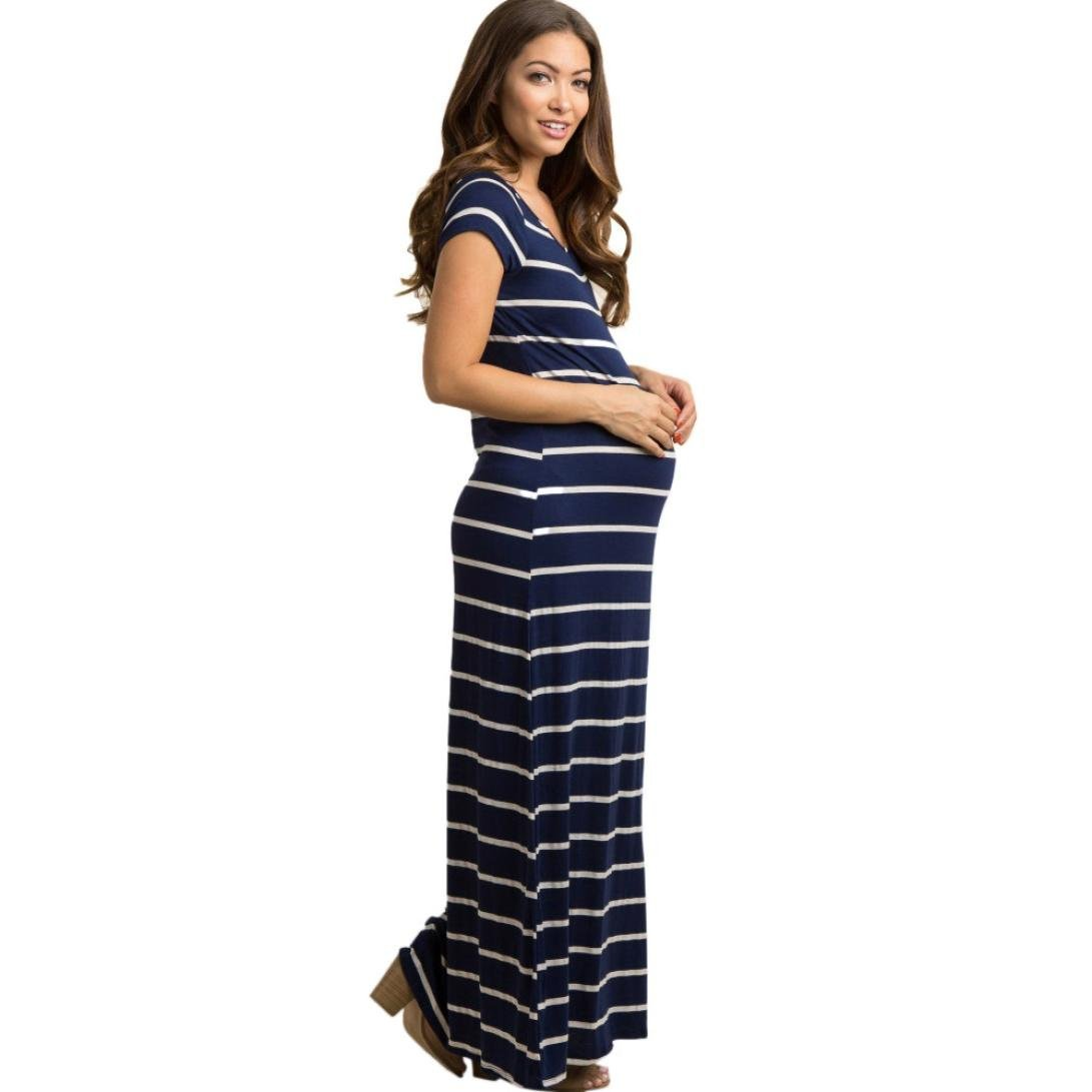 c14277912f051 Amazon.com : Women's Maternity Dress Casual Striated Short Sleeve Loose Long  Maxi Pregnancy Dresses (S, Navy) : Beauty