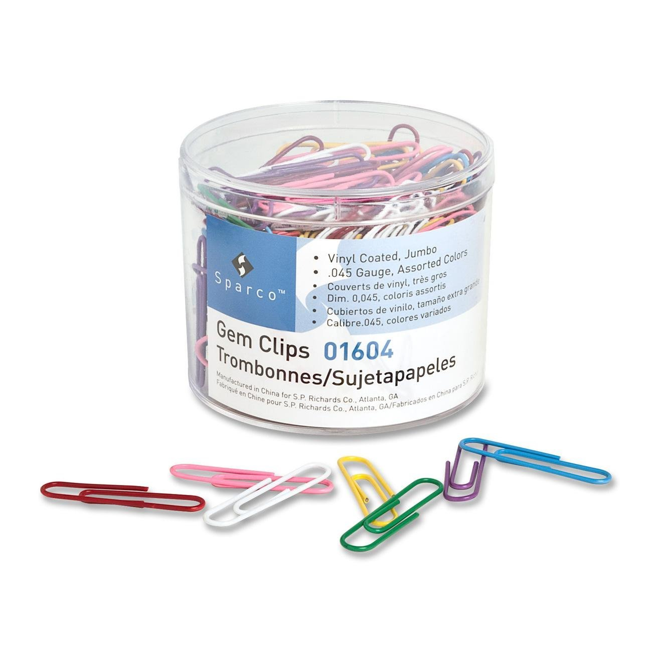 Amazon.com : Sparco 01604 Paper Clips.045 Guage, Vinyl Coated, Jumbo, 200/Box, AST : Office Products