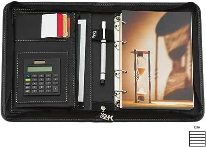 2K 5270 Ajanda Tarihsiz Çizgili Suni Deri Fermuarlı 4 Halka Mekanizmalı Hesap Makineli Organizer, Siyah, 21x27 cm.