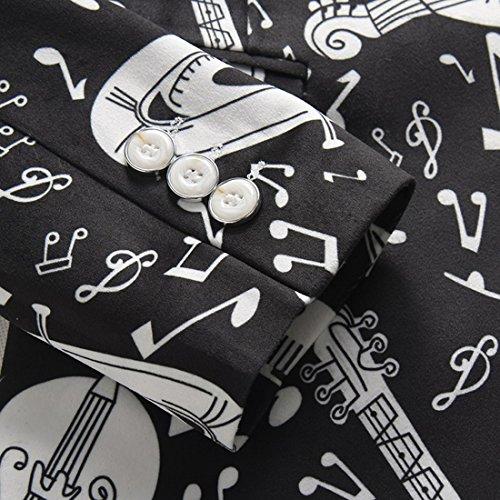 Giacca da uomo in blazer nero Slim Fit Print Stylish Coat