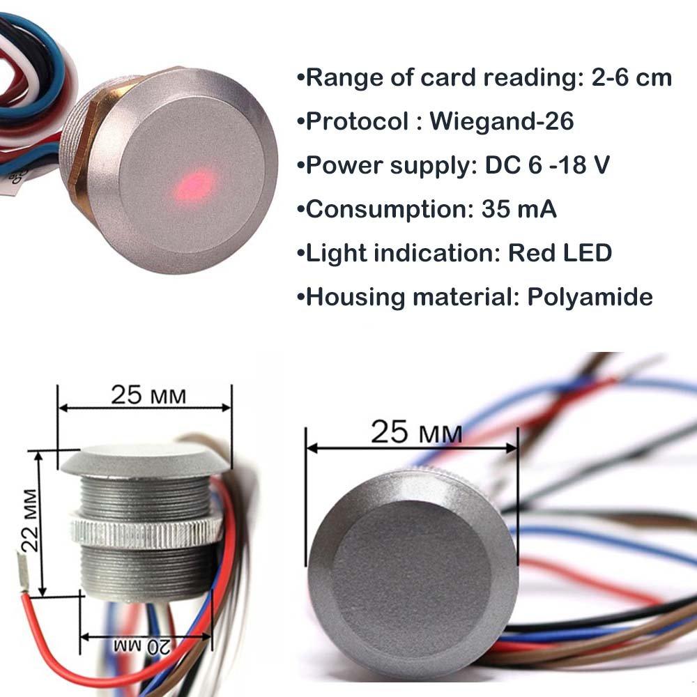 TPEKKA Mental Access Control Reader Waterproof Mini Hidden RFID 125Khz ID Card Reader RDZ2L
