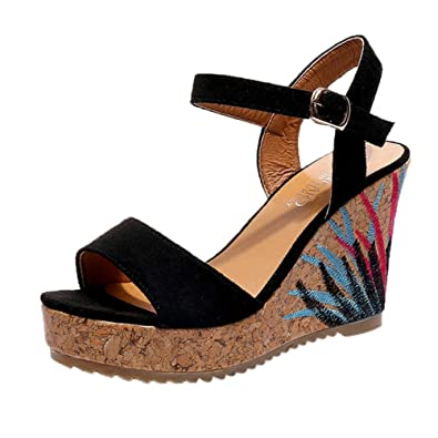 f7fd207509bd34 ... Luoluoluo Women s Bohemian Sandals Female Gigh Heel with Wedge Shoes  Girl Slippers Heels (35 . ...