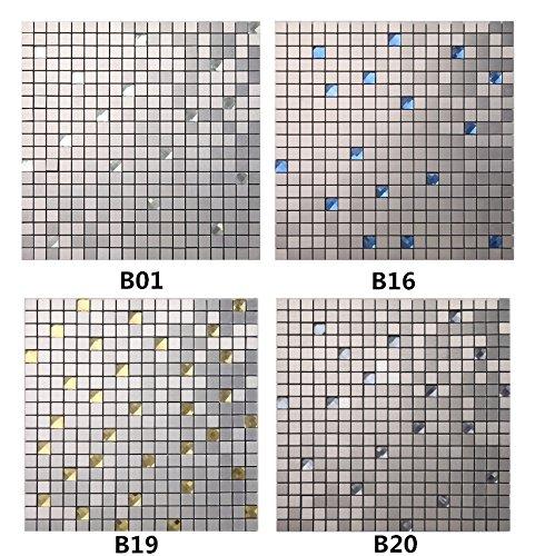 Shiny Glass 12''x12'' Peel and Stick Backsplah Tile Brushed Aluminum Self Adhesive Mosaic Backsplash for Kitchen- B20(5PCS 5.38Sq.ft,)