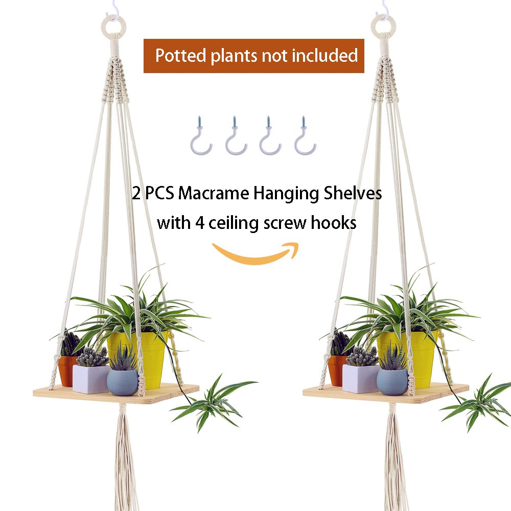 Supla 2 Pcs Wood Hanging Swing Rope Floating Shelves Macrame Shelf Hanging Planter Hanging Wooden Shelves for Plants for wall 45'' Long and 2 Pcs Ceiling Screw Hooks Cup Hook Holder