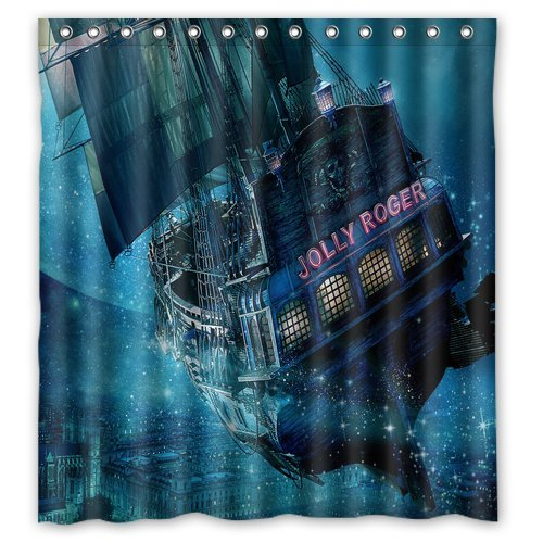 ScottShop Custom Best Anime Jolly Roger Ship Peter Pan Shower Curtain Decoration Waterproof Polyester Fabric Bathroom