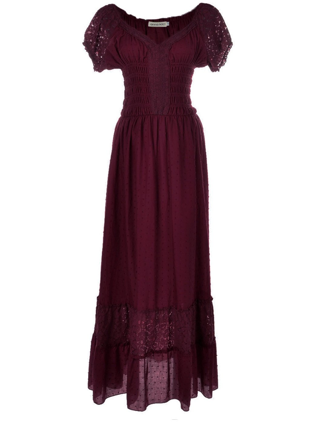 Renaissance Maiden Inspired Burgundy Lace Cap Sleeve Trim Chemise Underdress - DeluxeAdultCostumes.com
