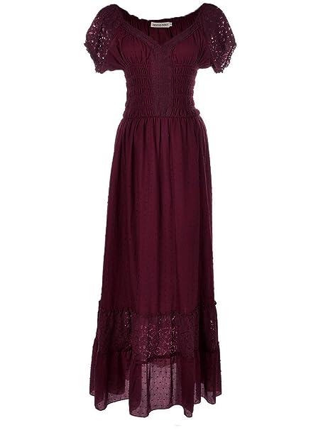 Anna-Kaci Renacimiento Campesino Maiden Boho Inspirado Cap Manga Vestido de Encaje - Rojo -