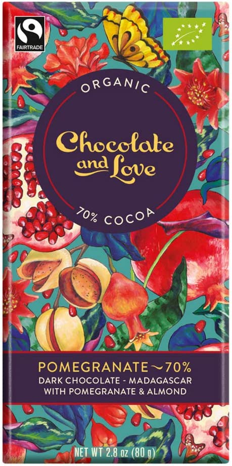 Chocolate And Love Organic Dark Chocolate Pomegranate 70 80 G