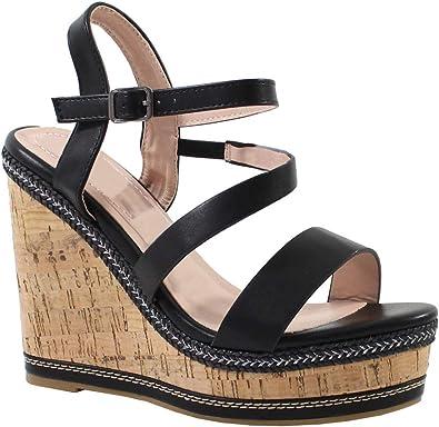 by Shoes Sandale Compensée en Liège et Style Cuir Femme