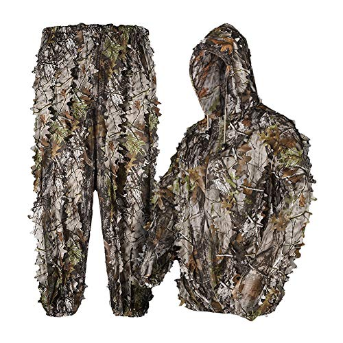 Waxaya 3D Bionic Maple Leaf Hunting Ghillie Suit Camouflage Sniper Clothing (XL/XXL Fit Tall 5.9-6.2ft, 3D Leaf Suit)
