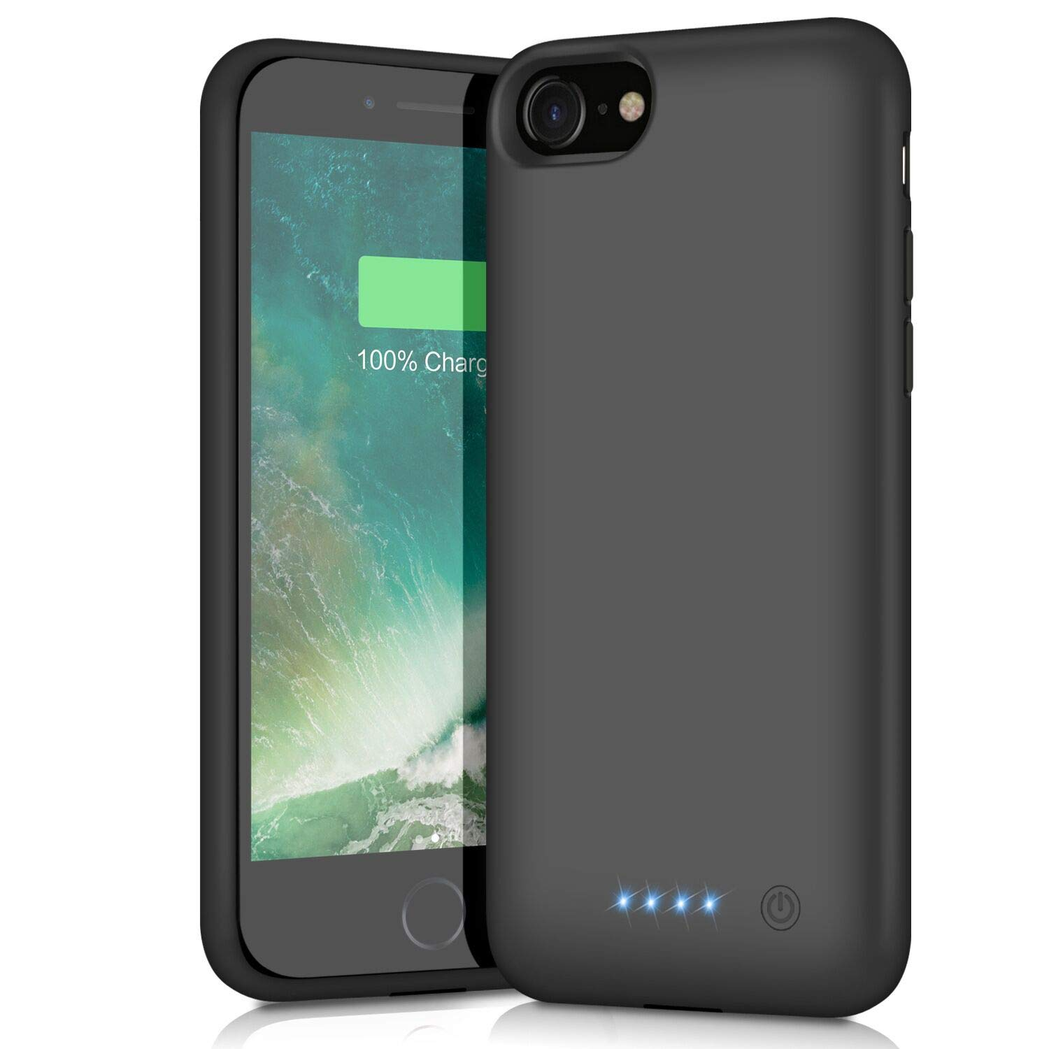 Battery Case for iPhone 8/7, 6000mAh Portable Rechargeable Battery Pack Charger Case for Apple iPhone 8 iPhone 7 [4.7 Inch] Extended Charging Case Protective Power Bank Backup Cover - Black Pxwaxpy